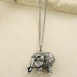 Small 3D boho print elephant Silver Necklace